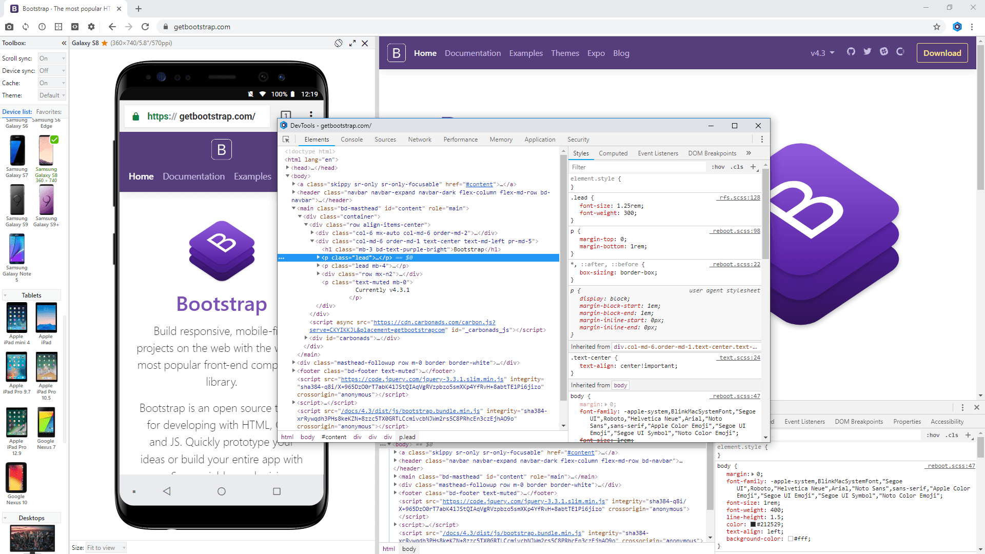 DevTools in Blisk browser