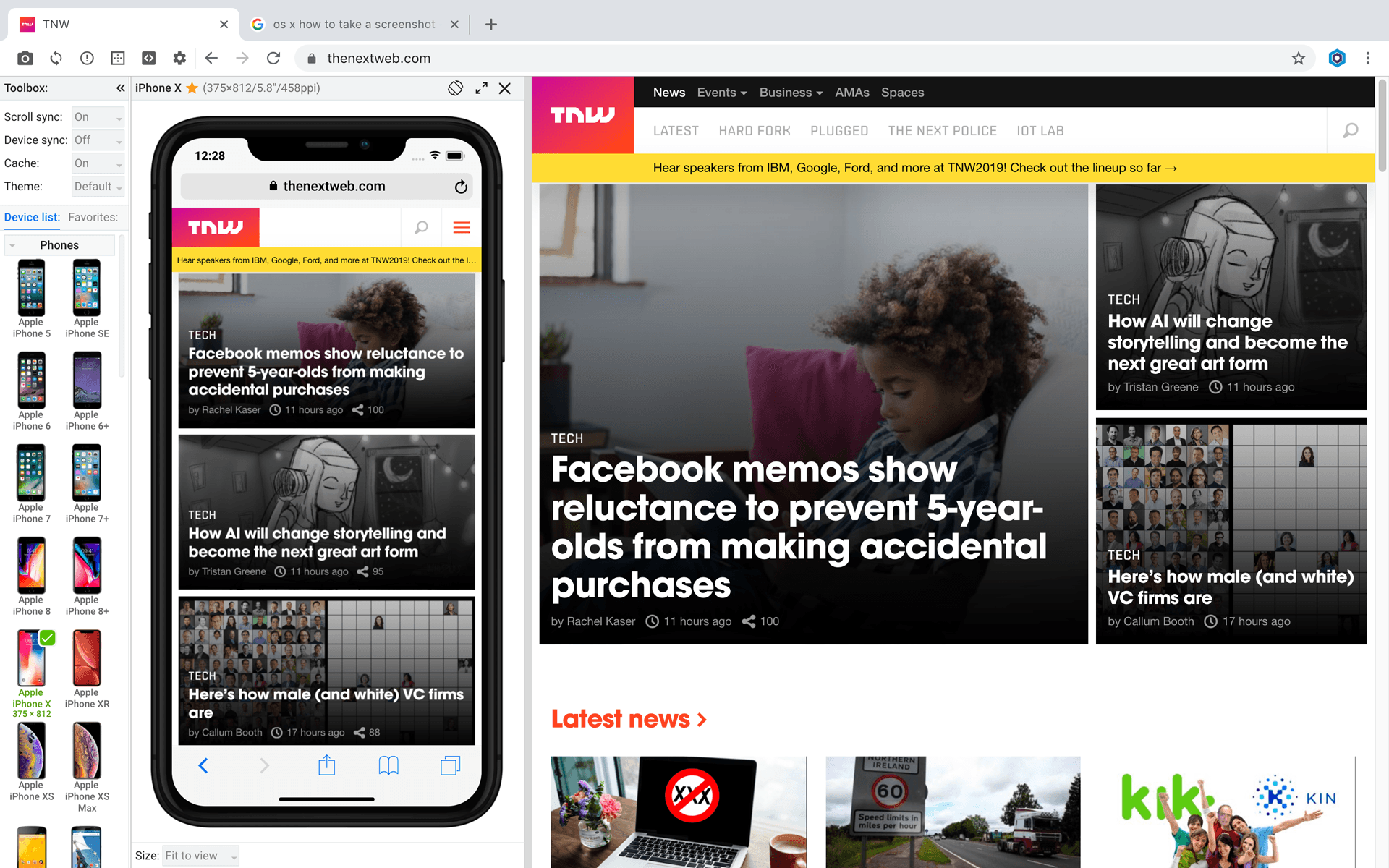 iPhone X in Blisk browser v.11