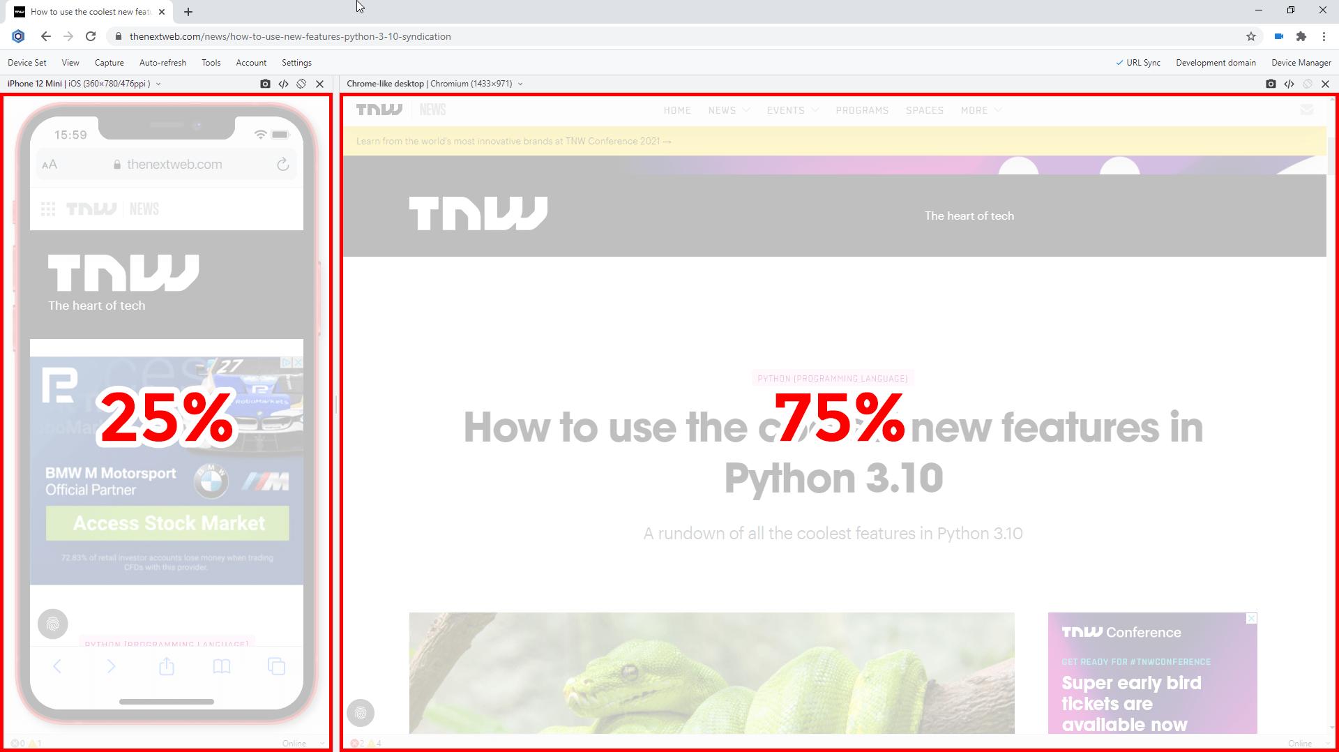 Default width for Chrome-like view in Blisk v.16
