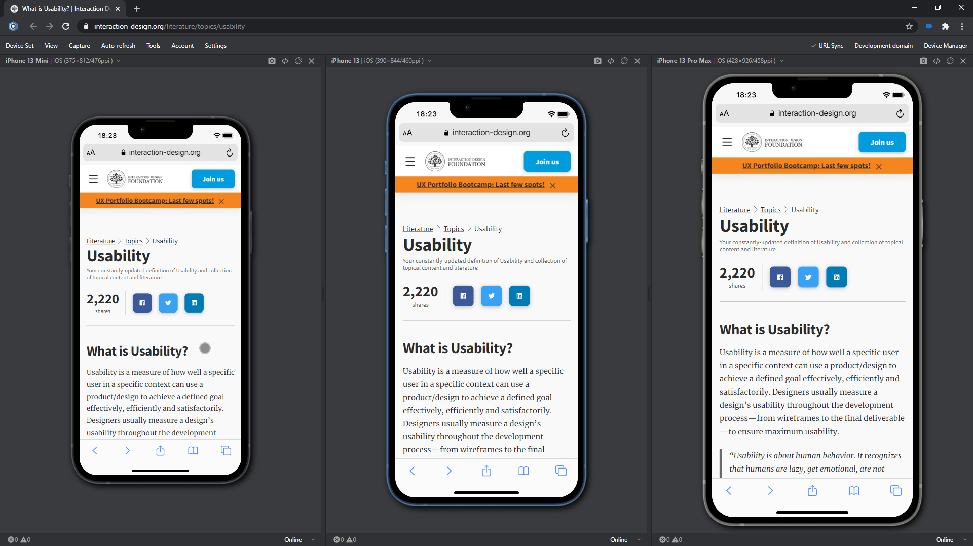 Usability test on iPhone 13-series
