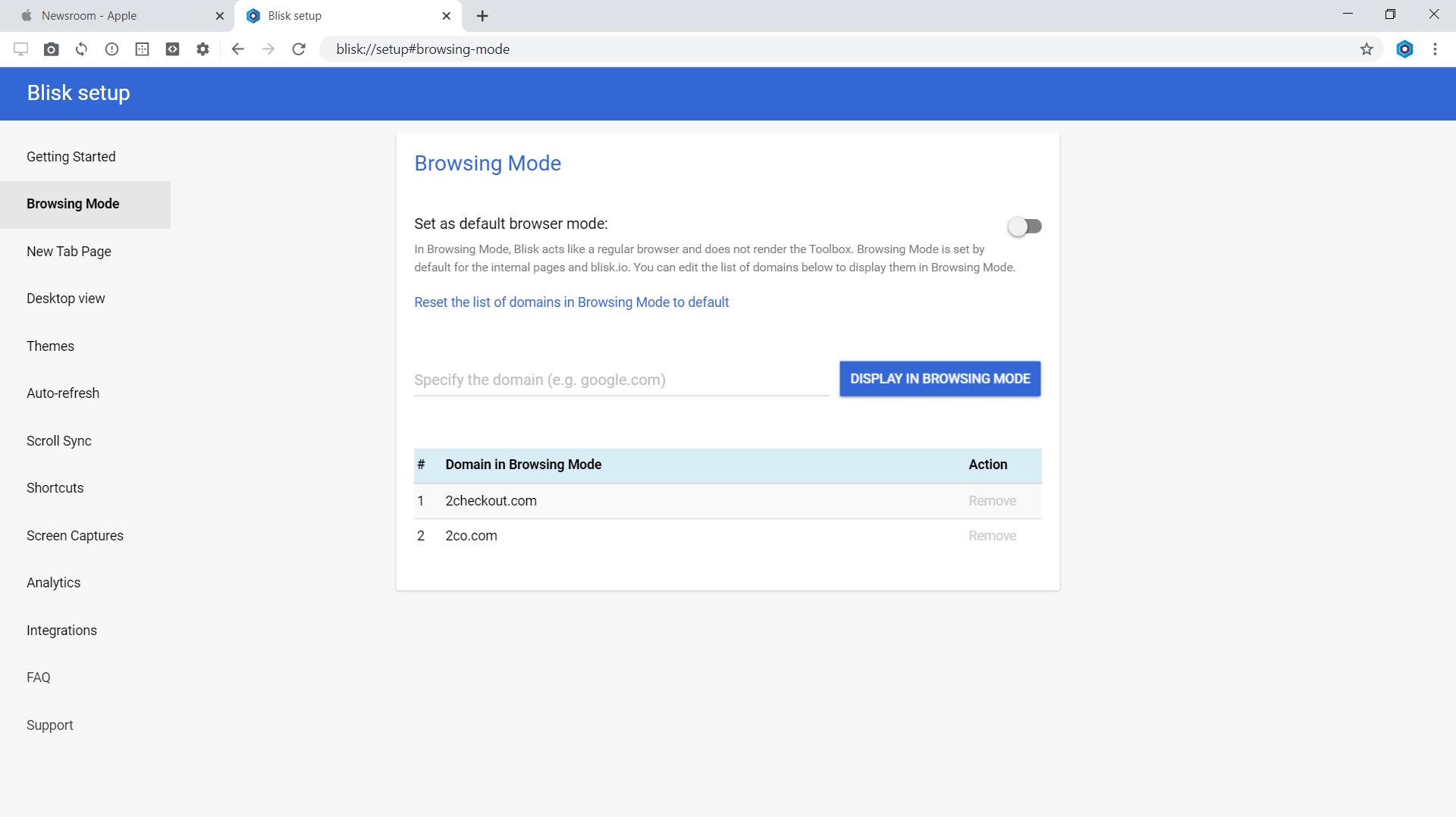Blisk: Browsing mode